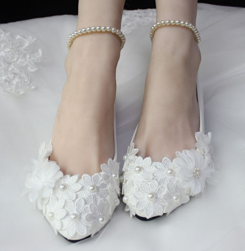 Plus sizes flats shoes white woman ankle pearls lace wedding flats shoes extra large plus sizes woman parties flats shoes<br><br>Aliexpress