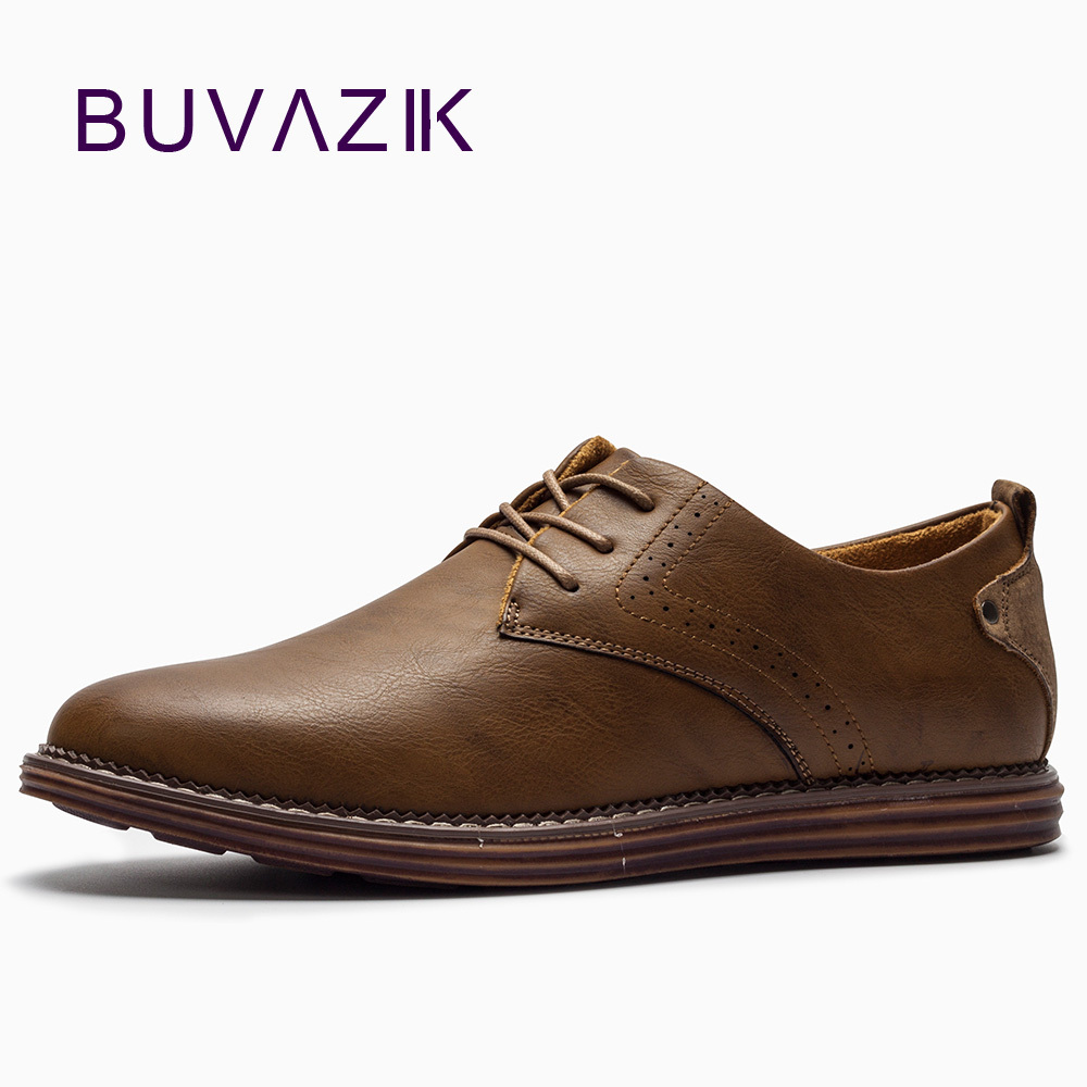 BUVAZIK 2018 mens flats new England style leather men lace-up Brogue shoes breathable and comfortable casual shoes<br>