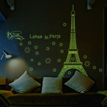 Love in Paris Night eiffel tower plane flower home decoration luminous wall sticker living room bedroom decal beautiful wall art(China)