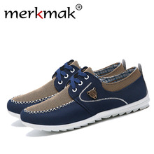 Merkmak Summer Men Shoes Trend Canvas Shoes Male Casual Shoes Men's Low Board Outwear Flats Breathable Driving Shoes Big Size 48(China)