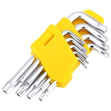 Freeshipping 9pcs L Shaft T10 T15 T20 T25 T27 T30 T40 T45 T50 Security Torx Hex Key Wrench Screwdriver Set Hand Repair Tool(China)