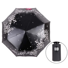 Cherry Blossom Automatic 3-folding Umbrella Rain Women black coating anti-uv Sakura Flower print Umbrella Rain Tools Sun Parasol