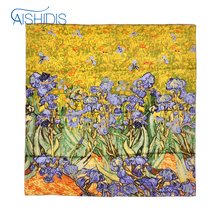 Women Handkerchief 100% Real Silk Scarf Hand Rolled Edges Flower Wraps & Scarves Famous Works - Van Gogh's Irises 1890