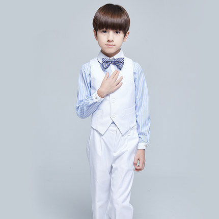 (Vest+shirt+bow tie+pant) New summer clothing sets kids Top boys Flower girl white kids clothes children School uniforms suit<br>
