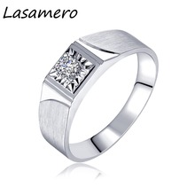 LASAMERO Ring for Men 0.141CT Round Cut Natural Diamond Center Ring 18k White Gold Engagement Wedding Ring(China)