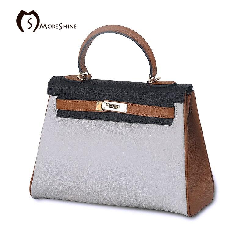 MORESHINE New Design Women natural leather Handbag Panelled Lock shopper bag Female Genuine Leather Shoulder Bag for Ladies Tote<br><br>Aliexpress