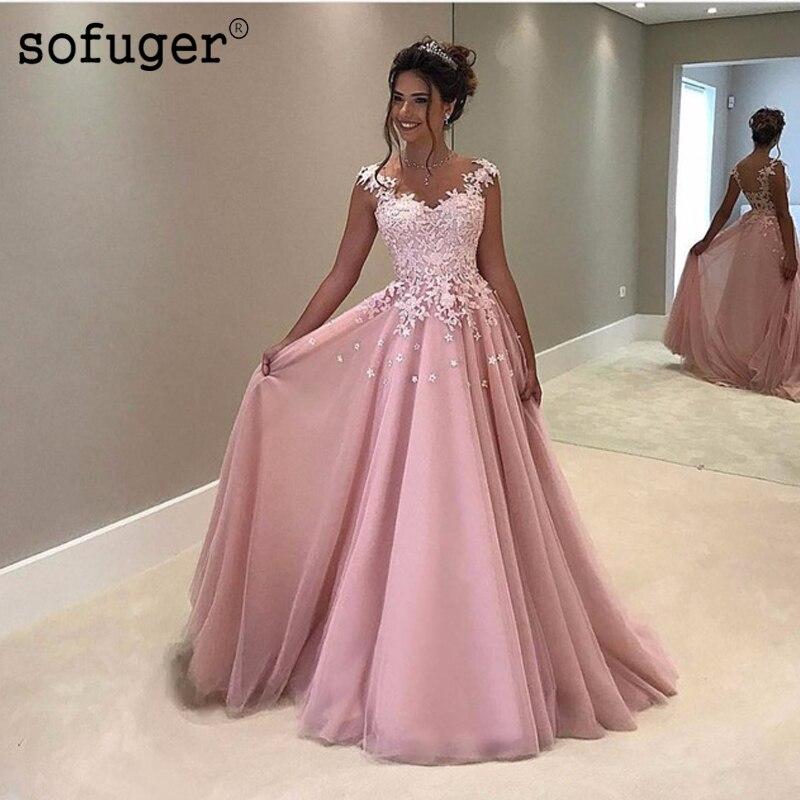 Pink Muslim Deep V-neck Evening Dresses 2019 A-line Flowers Lace Formal Islamic Dubai Kaftan Saudi Arabic Long Evening Gown Attractive Appearance Weddings & Events