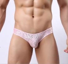 2016 Fashion Sexy Lace mens transparent underwear Low rise pouch briefs nylon men's briefs See through penis underware M L XL