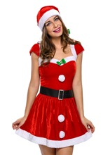 Adult Christmas Santas claus Dress Deck the Halls Hot sale Christmas Costume carnival sexy costumes winter dresses LC7170