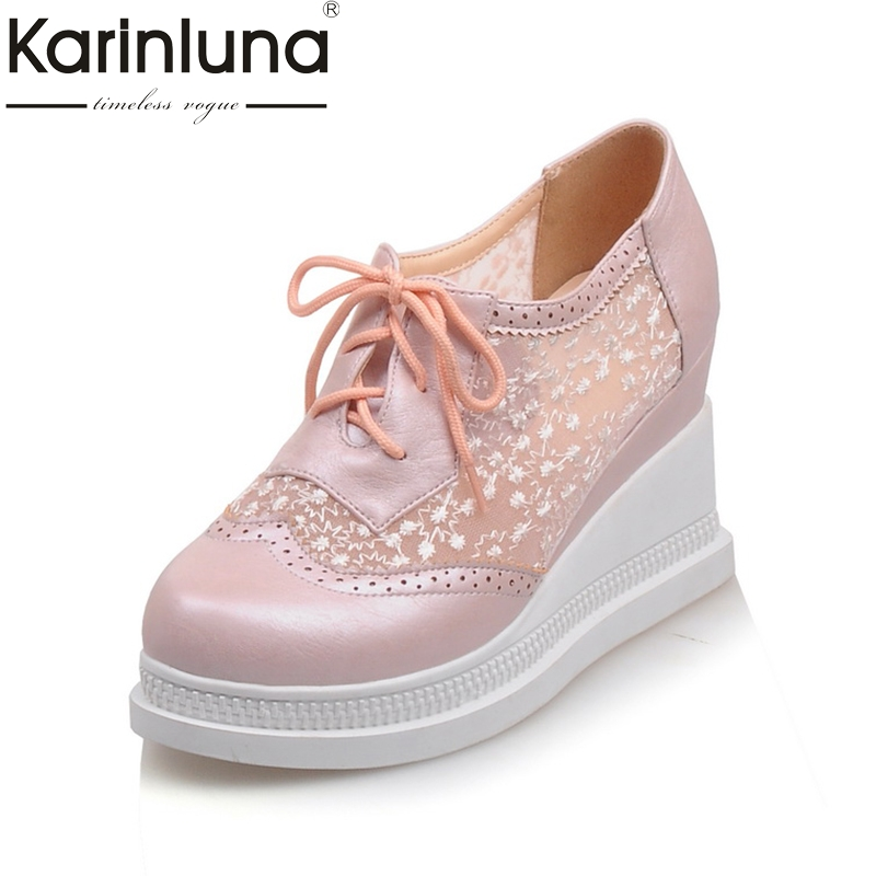 Karinluna New Big Size 33-43 Brand Shoes Woman Leisure Lace Upper Wedge High Heels Casual Shoes Woman Spring Summer Footwear<br>