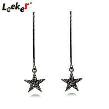 LEEKER Vintage Black Cubic Zircon Star Drop Long Line Earrings For Women Gothic Party Female Jewelry 91107 LK12(China)