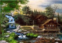 3D Diy Diamond Painting Handmade Cross Stitch Kit Diamond Embroidery 60x40cm Dream Cottage 5D Diamond Mosaic Paste Pattern Beads(China)