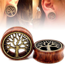 1Pair 8mm-20mm Wood Tree Of Life Double Flared Flesh Tunnel Ear Plugs Piercing Gauges Fashion Body Jewelry Gift