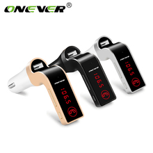 Onever FM Transmitter Hands-free Bluetooth Car Kit Wireless Mp3 Radio Modulator Audio Player Voltage LCD Display USB Car Charger(China)