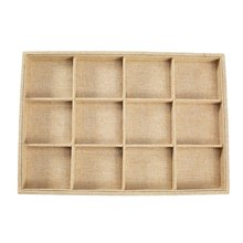new 12 Grids Linen Cloth Jewelry Display Tray Holder Shop Storage Box For Earrings Necklace Watch Presentation Organizer