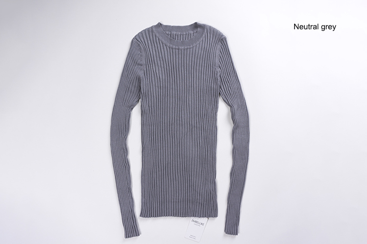 Women Sweater Pullover Basic Rib Knitted Cotton Tops Solid Crew Neck Essential Jumper Long Sleeve Sweaters Autumn Winter 17 11