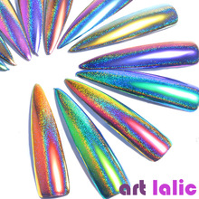 Artlalic 1Box Peacock Holographic Chameleon Nail Glitter Powder Mirror Laser Chrome Pigment Manicure Nail Art Decorations 0.2g