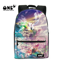 ONE2 2017 New Design high class student school bag printing with colorful cloud galaxy backpack rucksack for children students