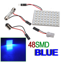 Best Price T10 48 LED SMD Blue Car Auto Interior Light Panel Map Reading Lamp Parking Bulb BA9S Festoon Dome 3 Adapters DC12V