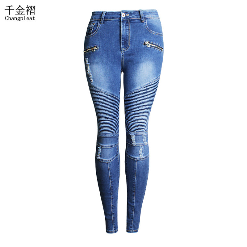 Boyfriend Jeans For Women With Midi Waist Skinny Stretch Fashion Locomotive Style Hole Womens Jeans Slim Pencil Denim Trousers Одежда и ак�е��уары<br><br><br>Aliexpress