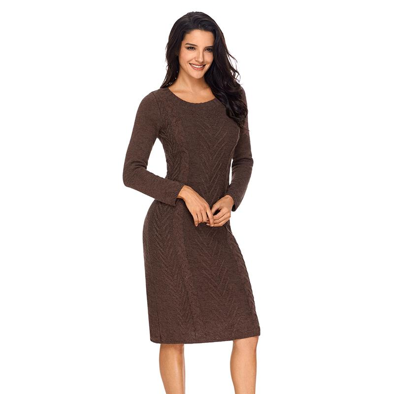 ADEWEL 2018 Spring Women Long Sleeve Bodycon Sweater Dress Casual Hand Knitted Midi Dress Elegant Inner Wear Womens Dresses (15)