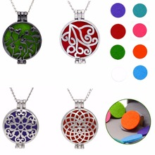 Charms Jewelry Hollow Vintage Necklace Shellhard Round Fragrance Locket Essential Oil Aromatherapy Diffuser Pendant Necklaces