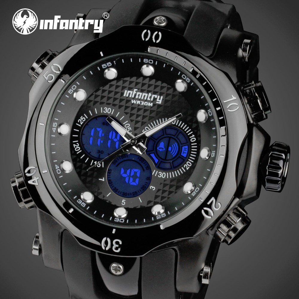 INFANTRY Mens Watches Big Dial LED Digital Watches Aviator Military Waterproof Sports Wristwatch Alarm Clock Relojes Hombre<br><br>Aliexpress