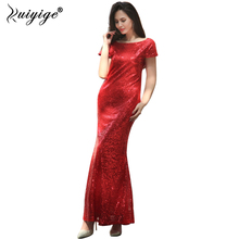 Buy Ruiyige 2018 Women Summer Sequined Short Sleeve Heap Collar Ankle-Length Bridesmaid Long Dress Sexy Mermaid Wedding Party Robes for $23.63 in AliExpress store