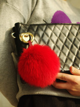 Fashion Accessories BAG Bugs Charm Red Furry Handbag Charm Pom Poms Red Genuine Fox Fluffy Puffs Ball Tote Charm(China)