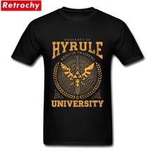 T-shirt Men Design Grunge Zelda Logo Hyrule University Male Personalized T Shirt Design Short Sleeve Crewneck Cotton Big Size(China)