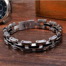 Mechanical Motocycle Thick Chain Bracelet Men In Titanium Stainless Steel Mens Jewelry Fashion Industrial Design Men Accessory(China)