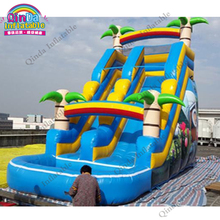 Guangzhou factory PVC Pool Slides Bounce Land Water Slide With Pool Inflatable Slide With Pools, palm tree slide sandal