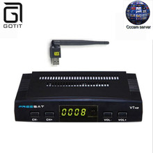 Open box Freesat V7 DVB-S2 Satellite Receiver with 1 Year Europe Spain CCCAM 3 Clines and 1 USB WIF Device TV Box DVB-S2 TV box(China)