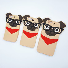 "NEW 3D Cute Cartoon Dogs with glasses Case Soft Silicone Cover For Apple iPhone 5 SE 5S 5C 6 6s 4.7"" 6 6s Plus 5.5"" Rubber Shell(China)"