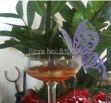 108pcs free shipping Purple Butterfly paper Place Card / Escort Card / Cup Card/ Wine Glass card for Wedding Party Favors(China)