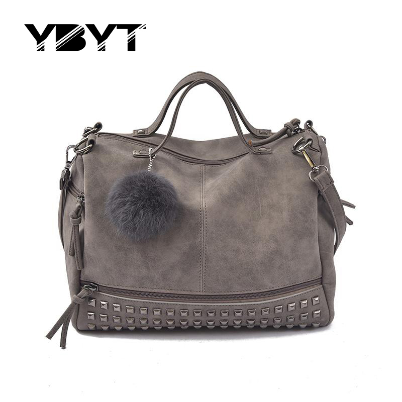 YBYT brand 2017 new fashion casual women handbag hotsale ladies large capacity solid rivet bag shoulder messenger crossbody bags<br><br>Aliexpress