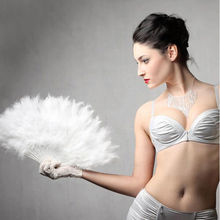 9 Colors Wedding Party Supplies Showgirl Feather Fans Folding Dance Hand Fan Fancy Costumes For Women(China)