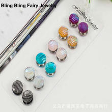6 PCS Mix Color Crystal Round Magnet Brooch Pin Muslim Scarf Clips, Free Shipping(China)