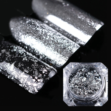 BORN PRETTY Mirror Glitter Silver Flakes Bling Nail Sequins Mirror Shinning Nail Art Glitter Powder Paillette Decoration 0.2g