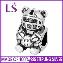LS Authentic 925 Sterling Silver Bead Charm Sports Teddy Bear Beads Fit Original Bracelet Bangle Diy Jewelry