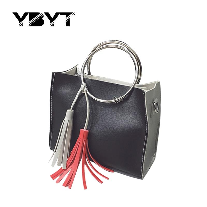 YBYT brand 2017 new panelled tassel composite bag hotsale ladies round metal handle handbags shoulder messenger crossbody bags<br><br>Aliexpress