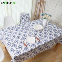 Chinese blue leaves pattern Cotton Linen Table Cloth Bedside cabinets cover Tablecloth tafelkleed 140*180/200/220/250/140/90cm
