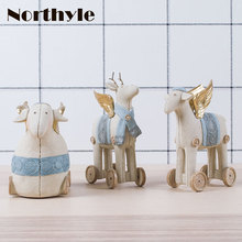 Vintage cloth art theme sheep figurine money box for home decoration resin sheep craft kawaii christmas gift for kids(China)
