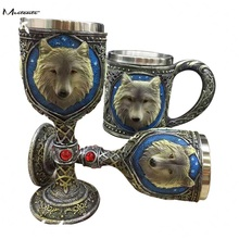 Meetcute Double Wall Stainless Steel 3D wolf Head Coffee Tea Bottle Mug Drinking Cups Exquisite Gift Bar Table Decroation