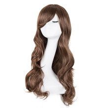 Curly Wigs Fei-Show Synthetic Heat Resistant Fiber Long Light Brown Hair Salon Inclined Bangs Hairpiece Costume Cos-play Hairset