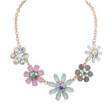 2016 rural style Kroean  jelly color floret necklace colored rhinestone shining jewel necklace for girl
