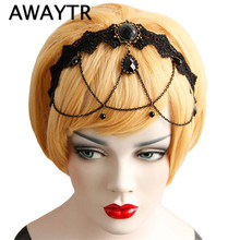 2017 Vintage Tassel Flower Headband Hair Band Wedding Acessories Crystal Bridal Hair Accessories Lace Head Chain Hair Jewelry