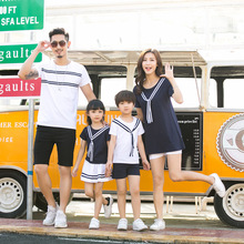 2017 new spring summer dresses for a family of four children and the Naval Academy Korean T-shirt skirt suit(China)