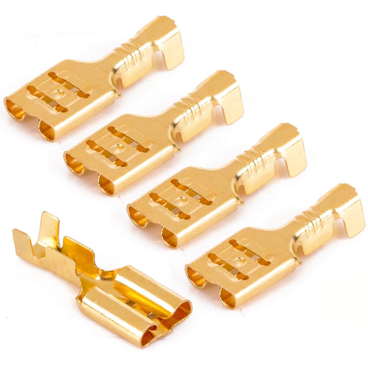Uninsulated Female Gold 6.3mm Spade Terminals Connectors Crimp Electrical Wire
