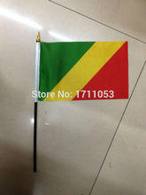 100 PCS/ lot Promotion Wholesale Small Republic of the Congo Hand Waving National Flag 14*21cm #8 Polyester Flag Free Shipping